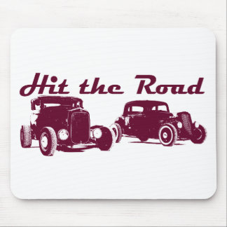 Hit the Road - Hot Rods flat burgundy Mouse Pad
