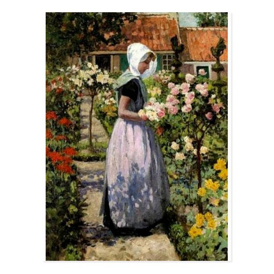 Hitchcock - Dutch Woman in Garden Postcard