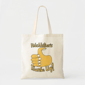 Hitchhiker's Thumbs Up Funny Cartoon Bag
