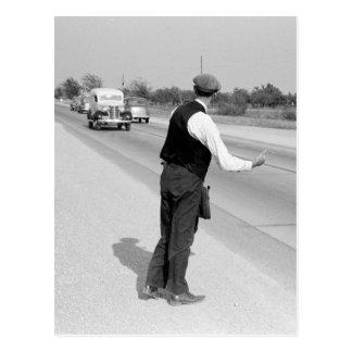 Hitching a Ride, 1939 Postcard