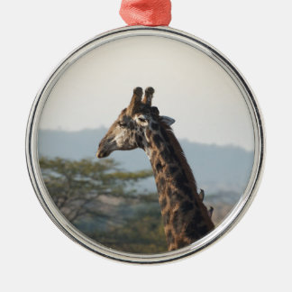 Hitching a ride on a giraffe Silver-Colored round decoration