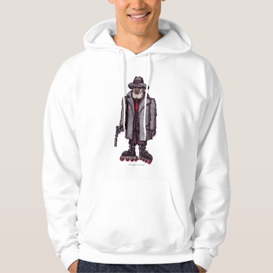 Hitman on rollerblades graphic art hoodie