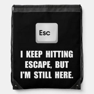 Hitting Escape Key Drawstring Bags