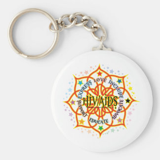 HIV/AIDS Lotus Basic Round Button Key Ring