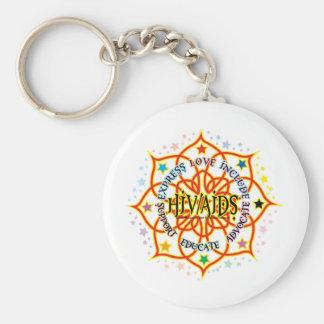 HIV/AIDS Lotus Basic Round Button Key Ring