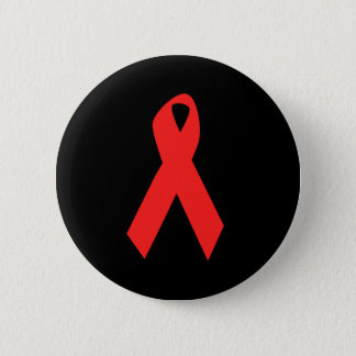 HIV AWARENESS / AIDS RIBBON 6 CM ROUND BADGE