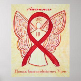 HIV Awareness Ribbon Red Angel Custom Art Posters