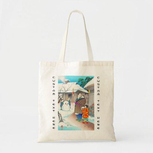Hiyoshi Mamoru A Snow Man shin hanga winter scene Canvas Bags