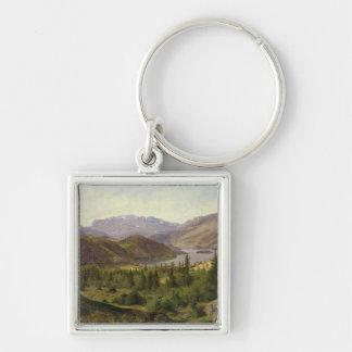 Hjelle in Valders, Tile Fjord, 1835 Silver-Colored Square Key Ring