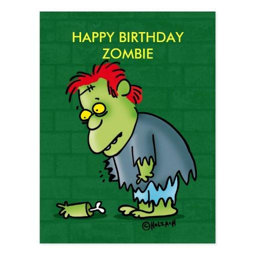 Hlz zombie happy birthdayzombie postkarten zazzle