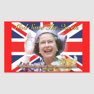 HM Queen Elizabeth II Diamond Jubilee Rectangular Sticker