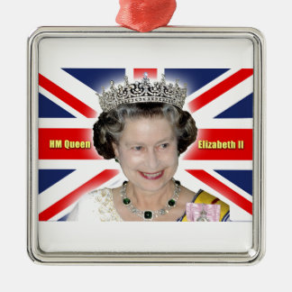 HM Queen Elizabeth II - Majestic! Silver-Colored Square Decoration