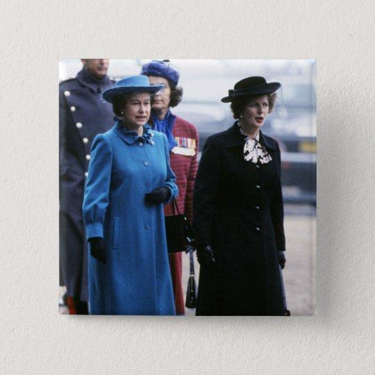 HM Queen Elizabeth II-Margaret Thatcher 15 Cm Square Badge