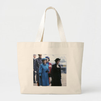 HM Queen Elizabeth II-Margaret Thatcher Large Tote Bag