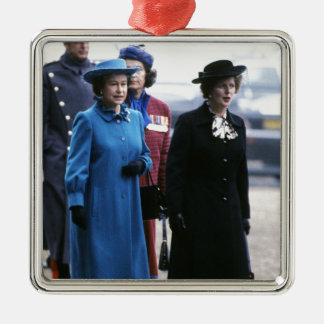 HM Queen Elizabeth II-Margaret Thatcher Silver-Colored Square Decoration