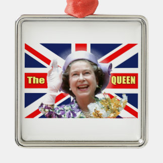 HM Queen Elizabeth II Silver-Colored Square Decoration