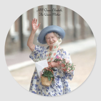 HM Queen Elizabeth The Queen-Mother 1988 Round Sticker