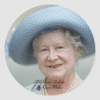 HM Queen Elizabeth, The Queen Mother 1988 Round Sticker