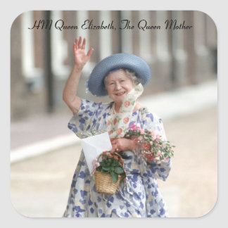 HM Queen Elizabeth The Queen-Mother 1988 Square Sticker