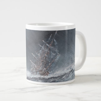 HMS Beagle in a storm off Cape Horn Large Coffee Mug