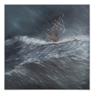 HMS Beagle in a storm off Cape Horn Poster