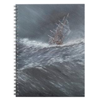 HMS Beagle in a storm off Cape Horn Spiral Note Book