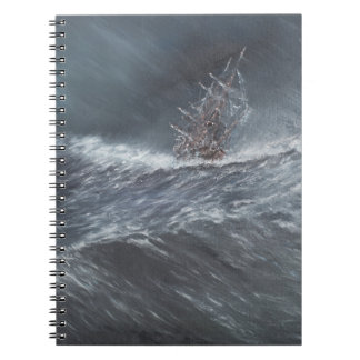 HMS Beagle in a storm off Cape Horn Spiral Notebook