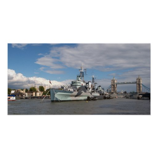 HMS Belfast and london Skyline Posters