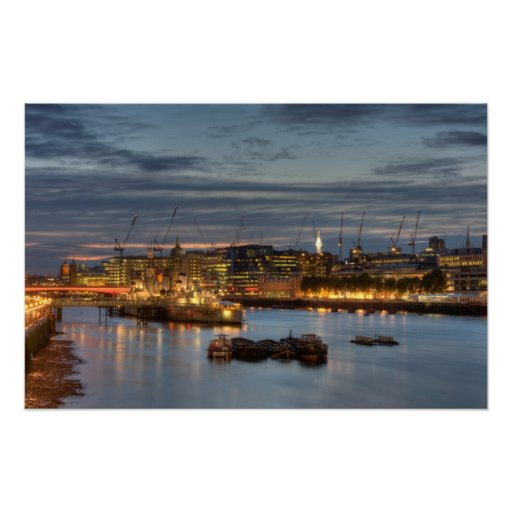 HMS Belfast at night in London England Posters