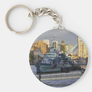 HMS Belfast. Basic Round Button Key Ring