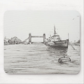 HMS Belfast on the river Thames London.2006 Mouse Pad