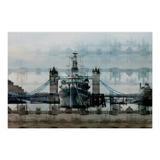 HMS Belfast On The Thames Print