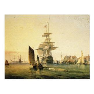 HMS Britannia entering Portsmouth, 1835 Postcard