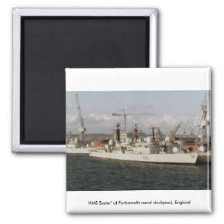 "HMS Exeter"" at Portsmouth naval dockyard, England Fridge Magnets"