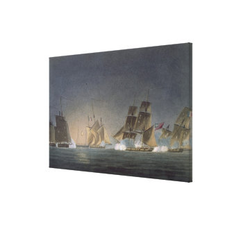 HMS Rinaldo engaging four French Privateers, engra Canvas Print
