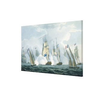HMS Sirius, Captain Rowse engaging a French Squadr Canvas Print