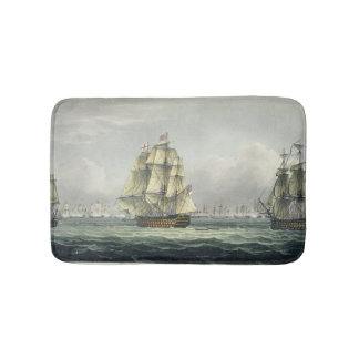HMS Victory sailing for the French line flanked by Bath Mat