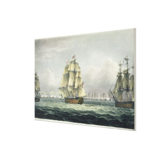 HMS Victory sailing for the French line flanked by Canvas Print