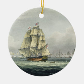 HMS Victory sailing for the French line flanked by Christmas Ornament