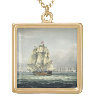 HMS Victory sailing for the French line flanked by Gold Plated Necklace