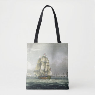HMS Victory sailing for the French line flanked by Tote Bag