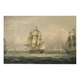HMS Victory sailing for the French line flanked by Wood Wall Art