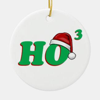 Ho 3 (Cubed) Christmas Humor Round Ceramic Decoration