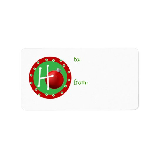 Ho Christmas Ball Gift Tag Address Label