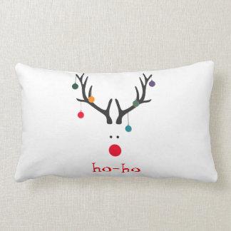Ho ho funny cute modern Santa Claus reindeer white Lumbar Cushion