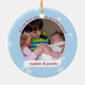 Ho Ho Ho 1st Christmas as Big Sister custom photo Christmas Ornament