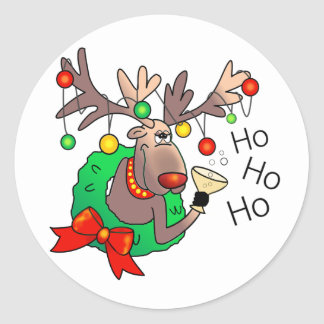 HO HO HO by SHARON SHARPE Classic Round Sticker