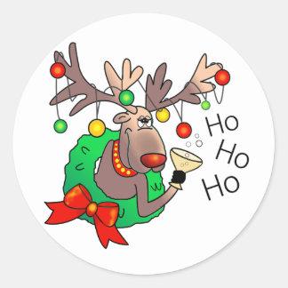 HO HO HO by SHARON SHARPE Round Sticker