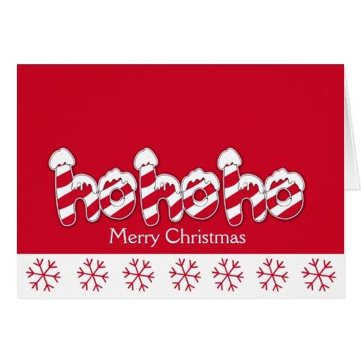 Ho Ho Ho Candy Cane Holiday Christmas Card