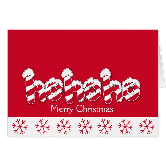 Ho Ho Ho Candy Cane Holiday Christmas Card